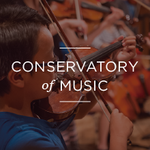 Young boy playing violin with text that reads 'conservatory of music '