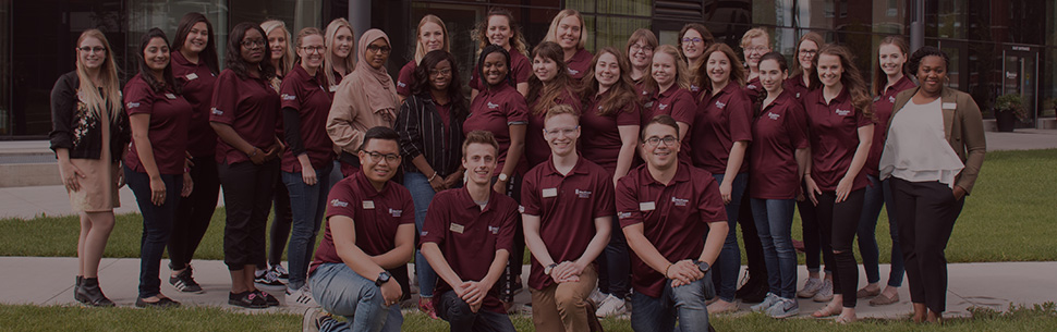 MacEwan Ambassadors in front of MacEwan University
