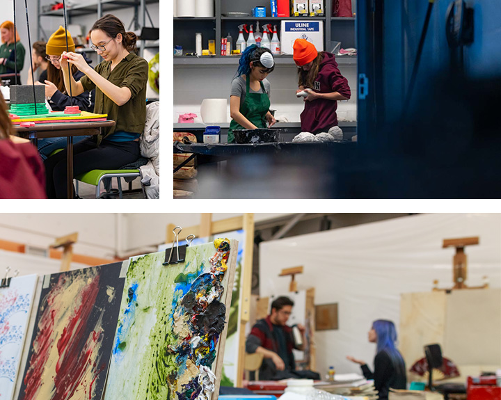 Fine Art Spaces and Studios Students Working Painting Easels