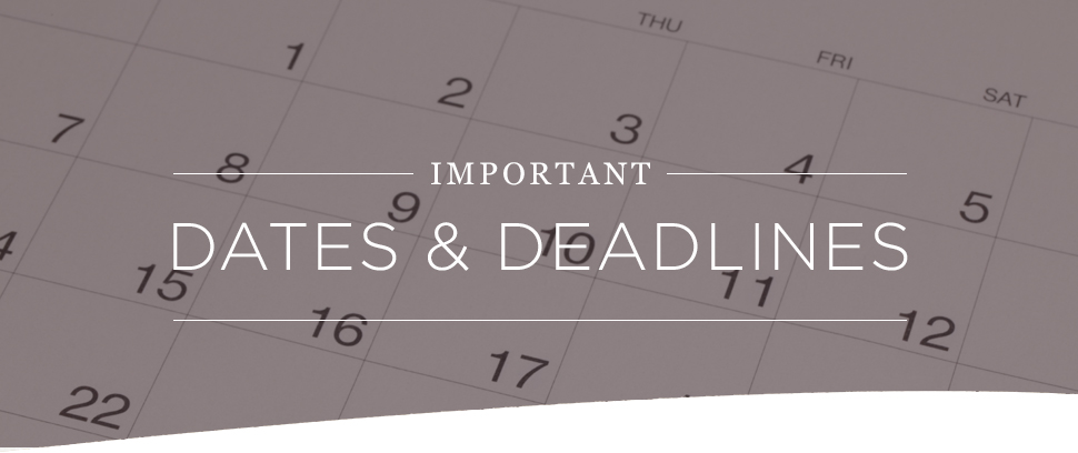"""Important dates and deadlines"" calendar"