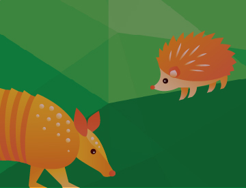IT Security Watch Your Back Campaign Graphic with a hedgehog and an armadillo