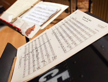 Sheet music on a music stand